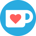 A blue circle that has a white silhouette of a coffee cup with a red cartoon heart on it.